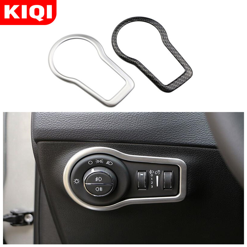 KIQI ABS Chrome Carbon Fiber Car Accessories Fit For Fiat 500X 500 X 2015 - 2020 Headlight Switch Knob Trim Stickers