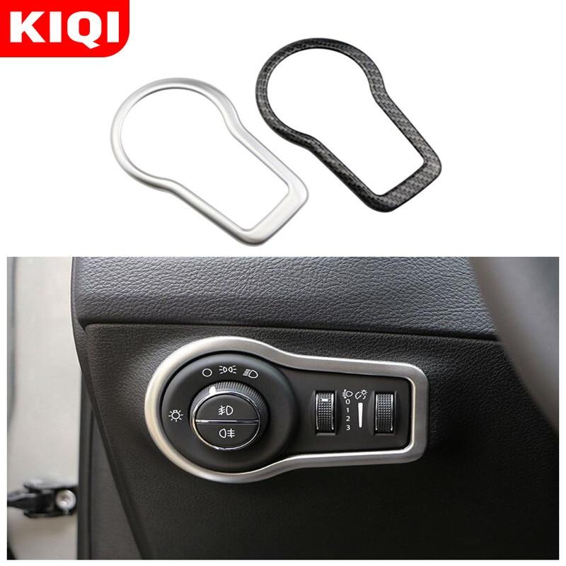 KIQI ABS Chrome Carbon Fiber Car Accessories Fit For Fiat 500X 500 X 2015 - 2020 Headlight Switch Knob Trim Stickers