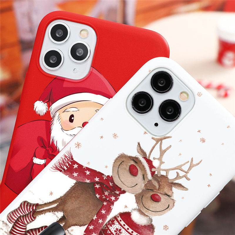 New Christmas Deer Santa Claus Phone Case For iPhone 12 Pro Max