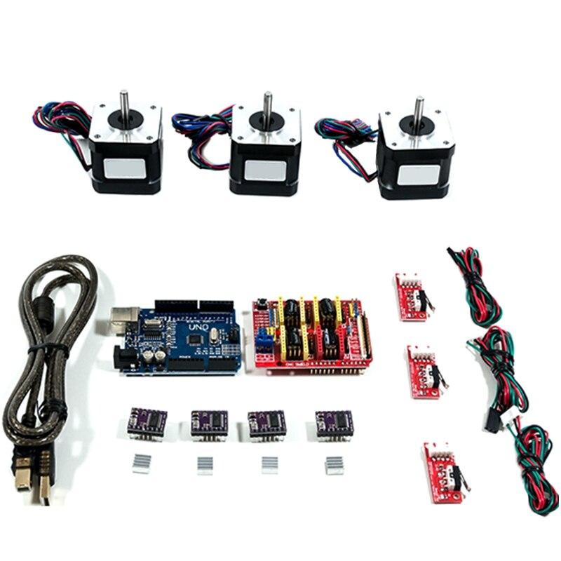 HOT-Arduino Kit de CNC avec Uno + bouclier + moteurs pas à pas Drv8825 butée finale A4988 Grbl