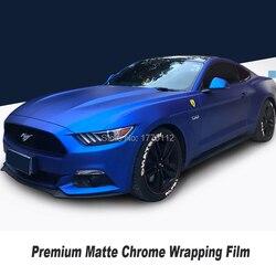 Beste Kwaliteit Nieuwste Upgrade Matte Chrome Vinyl Wrap Auto Wrap Vinyl Roll Bubble Gratis Blauw Multicolor 18 M/Roll