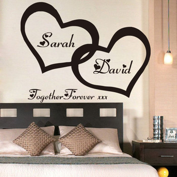 Hearts Custom Personalised Couple Name Vinyl Art Wall Sticker Decal For Couple Bedroom Romantic Mural for Home Decor LW363 1