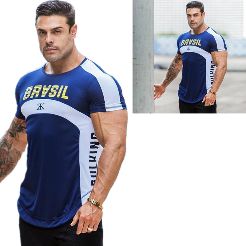 HETUAF Gyms T-shirt brand clothing fitness T-shirt compression short-sleeved T-shirt bodybuilding exercise T-shirt