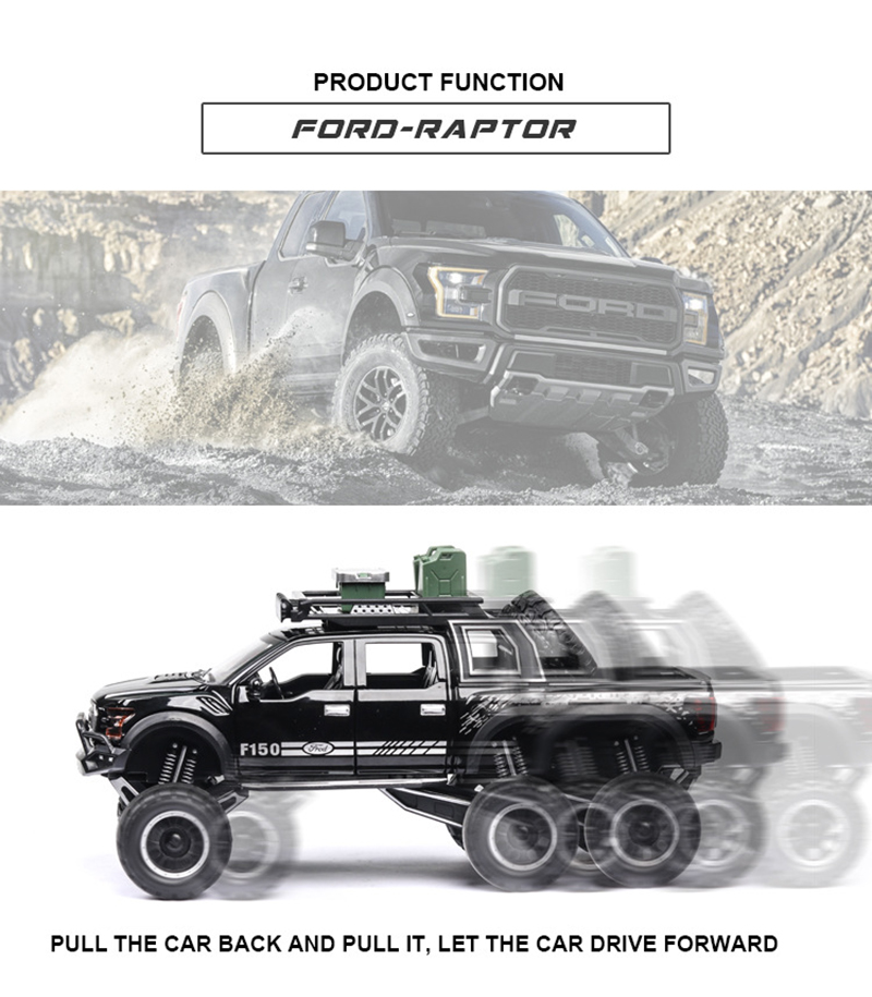 Ford F150 Raptor Pickup Truck Model Car with Sound and Lights 9