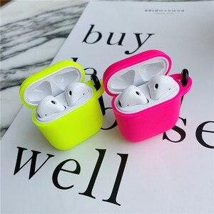 Image 4 - Fluorescencyjny kolor dla Apple Airpods 2/1 Case jednolity kolor Bluetooth słuchawki pokrywa dla Airpods Pro słuchawki Box silikonowe Funda