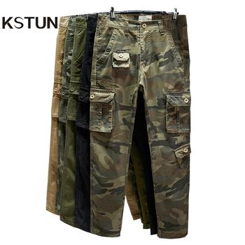 Bawełniane spodnie Cargo męskie proste spodnie taktyczne wojskowe kombinezony kilka kieszeni spodnie kamuflażowe spodnie Khaki spodnie męskie spodnie dresowe tanie i dobre opinie Wiosna i jesień CN (pochodzenie) COTTON Solo W stylu safari Mieszkanie Z KIESZENIAMI REGULAR Pełna długość WJ-203