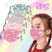 5 pçs máscara facial crianças meninos menina algodão lavável filtro ajustável dos desenhos animados máscara mascarillas earloop reutilizável respirador