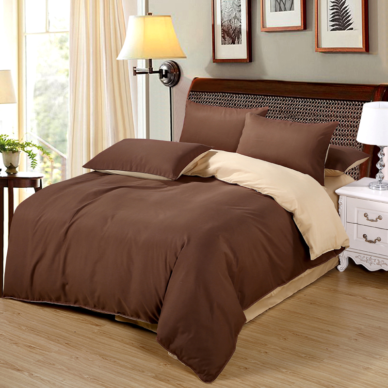 Pillowcase Bedding-Sets Duvet-Cover Brown Gold Double-Color Flat-Bed-Sheet King-Queen