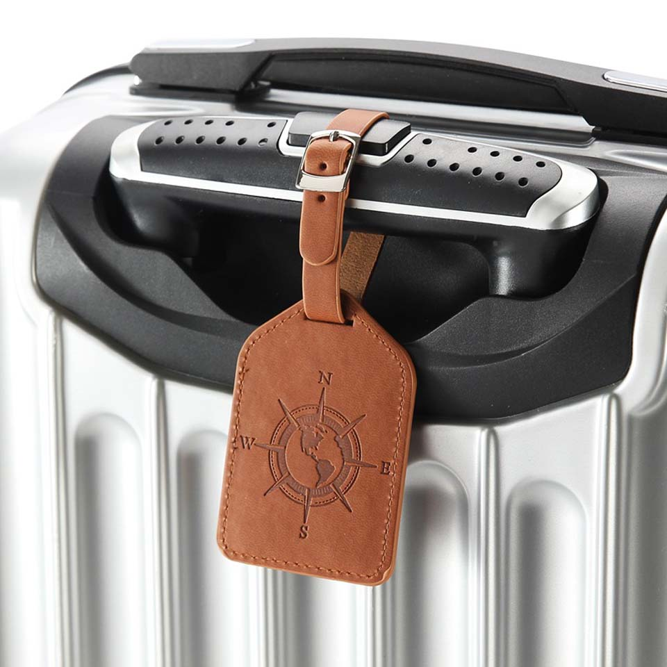 Compass Leather Suitcase Luggage Tag Label Bag Pendant Handbag Travel Accessories Name ID Address Tags