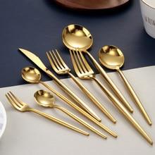 Service de couverts en or, fourchettes, cuillères, couteaux, vaisselle en acier inoxydable, service de table, baguettes, cuillères, couteaux, fourchettes
