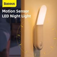 Baseus-lámpara con detección de movimiento, luz Led nocturna de inducción, Sensor de movimiento, para pasillo, emergencia, mesita de noche magnética, para cocina y casa