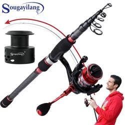 Sougayilang Fishing Rod Reel Combos Portable Carbon Fiber Telescopic Fishing Rod and 13+1BB Spinning Fishing Reels Kit Fishing