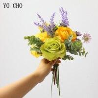 Йо Чо Свадебный букет Искусственный букет невесты Шелковая Роза цветок пион Орхидея Гортензия Лаванда Маргаритка Свадебные Поставки оптом