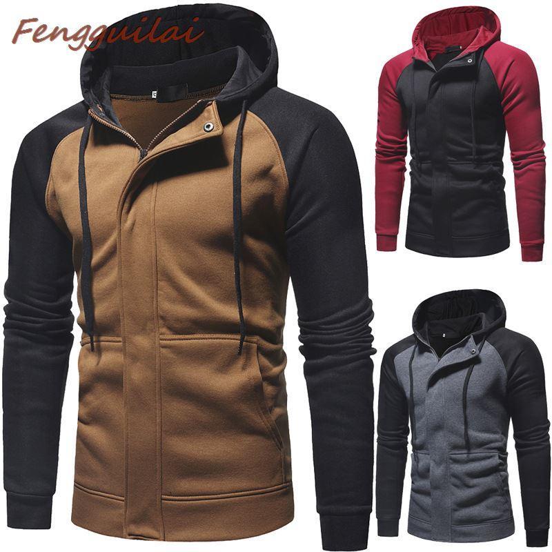 Autumn Winter 2020 New Men's Hooded Coat Solid Casual Korean Long-sleeved Sweatshirts 3XL Men's Slim Cardigan Sweater Coat For M