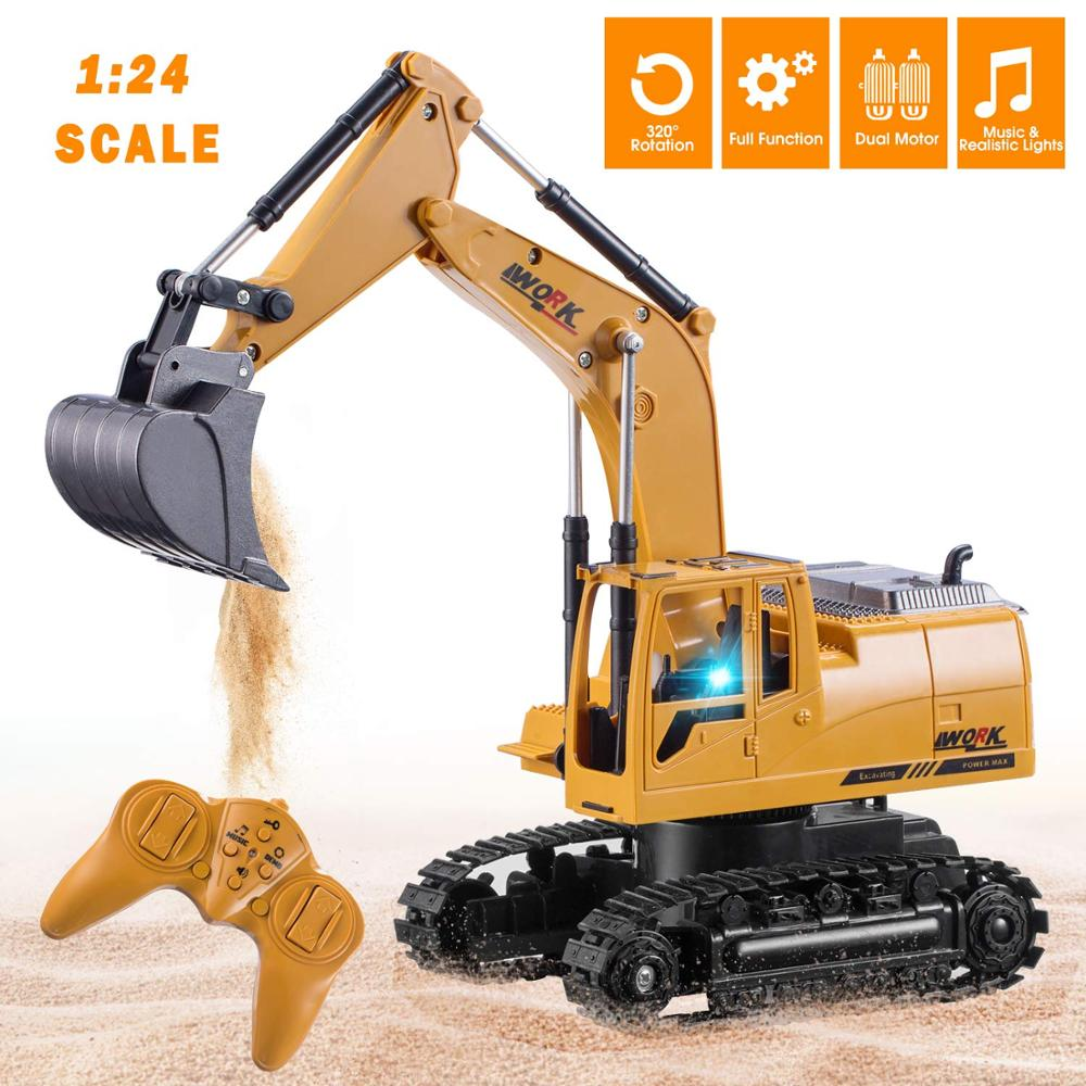 3853 1/24 8CH RC Excavator Die cast Alloy Metal Construction Tractor 2.4G Remote Control Bulldozer Engineering Vehicle Dump Car|RC Cars| | - AliExpress