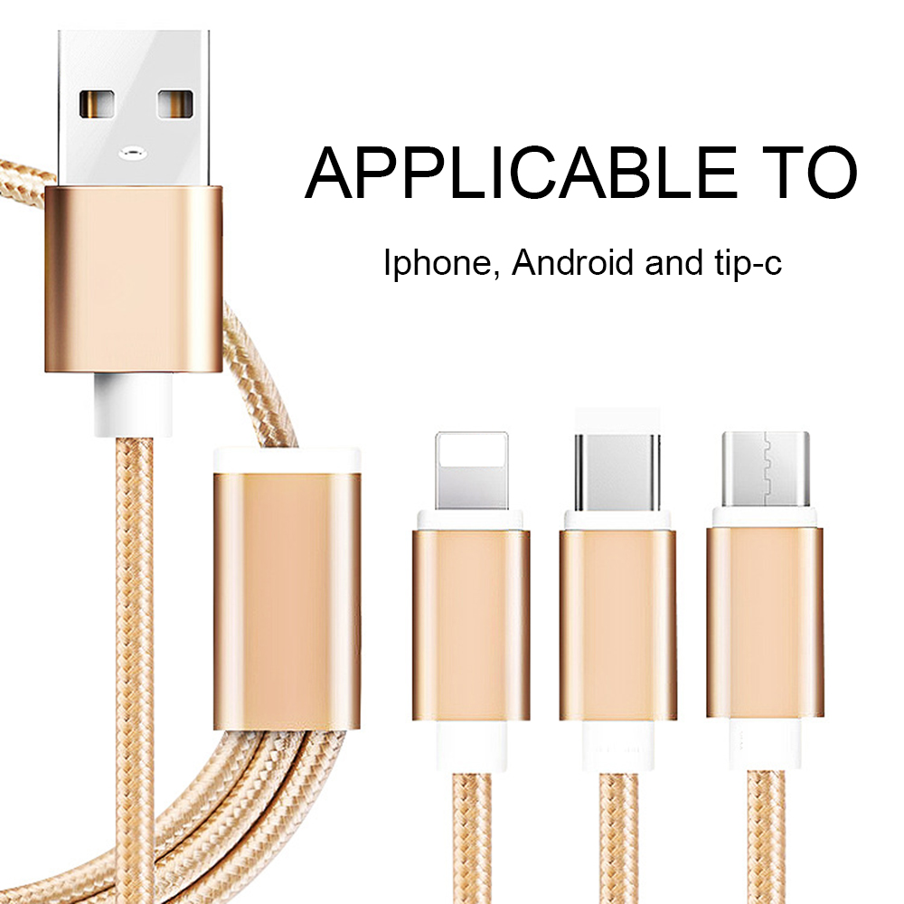 Three in one USB phone charging cable Applicable to Iphone, Android and tipe-c 1.2m Gold, rose gold, silver, black