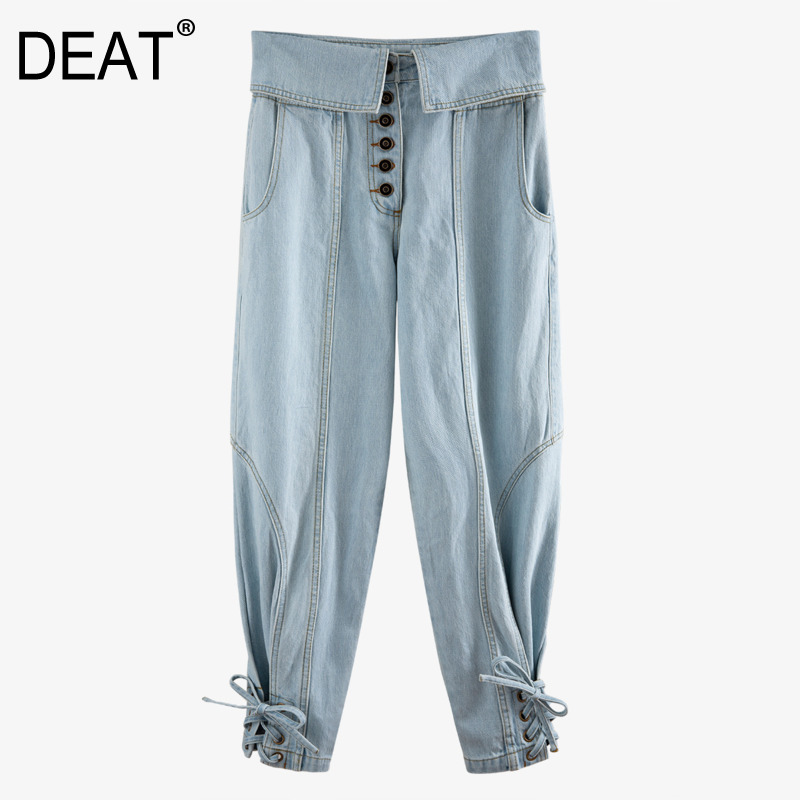 DEAT 2020 New Spring And Summer Fashion Women Clothing High Waist Drawstring Denim Pockets Single Breasted Jeans WM26005L