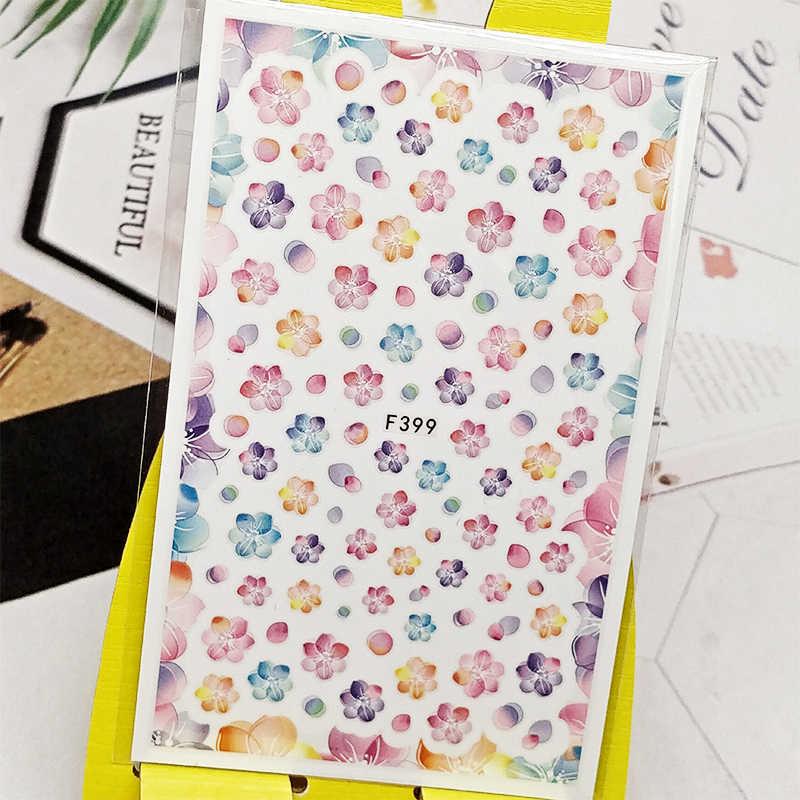 3D Nail Sticker Decals Roze Bloemen Ontwerp Nail Art Decoraties Stickers Sliders Manicure Accessoires Nagels Decoraciones