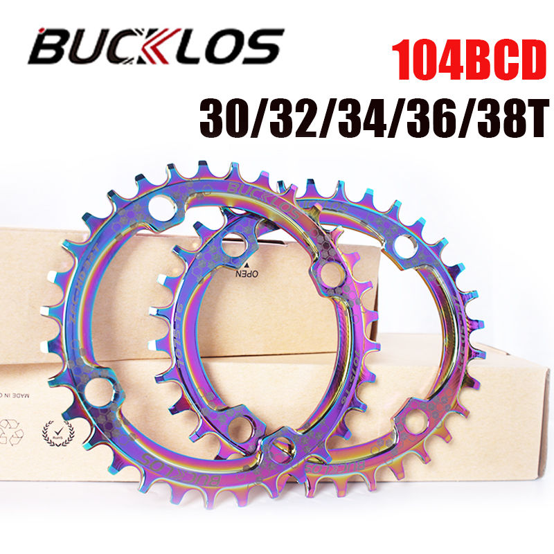 Mtb bicicleta chainring estreita roda dentada larga 30/32/34/36/38t cor chapeamento arco-íris para 8/9/10/11 velocidade anel de corrente cárter