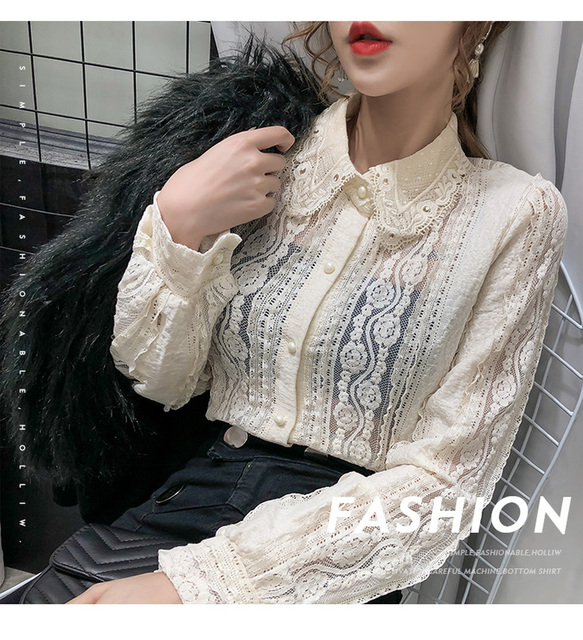 Sexy Women Tops Blouse 2021 Autumn Hollow Lace Shirt Cotton Long Sleeve Women Blouse Beading Thin Office Lady Clothing 10457 5
