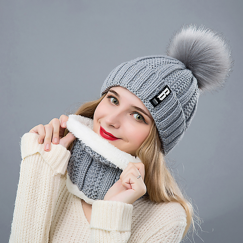 SuperB-G-Set-Winter-Hat-And-Scarf-Women-Soft-Beanies-Hat-Pompoms-Hat-Scarves-Female-Winter