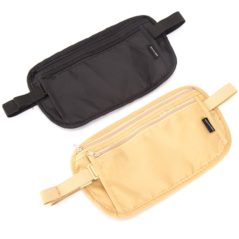 Travel Farbic Pouch Hidden Wallet Passport Money Fanny Pack For Women Waist Belt Bag Slim Secret Security Useful Travel Bag