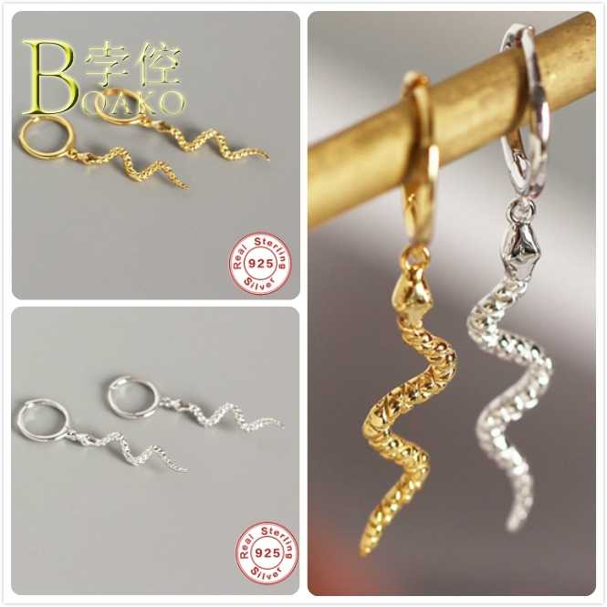 אמיתי 925 כסף עגילים לנשים זהב חישוק נחש עגילי גותי ילדה אוזן פירסינג עגילי פאנק נשי ארוך Smake aretes b5