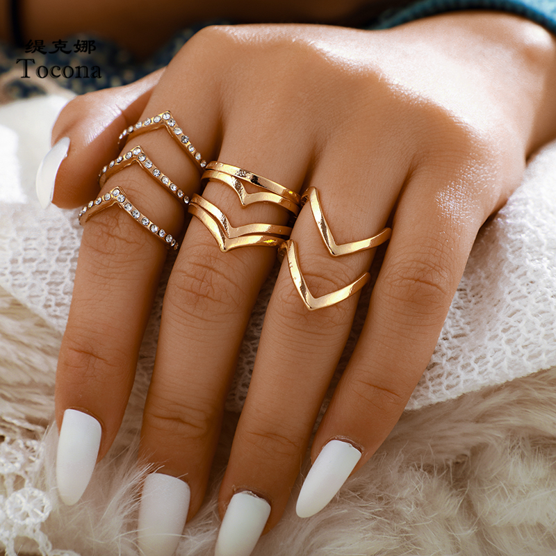 Tocona Fashion 5pcs/sets Wave Gold Rings Sets Clear Crystal Simple Gold Alloy Metal Charming Rings for Women Accessories 9017