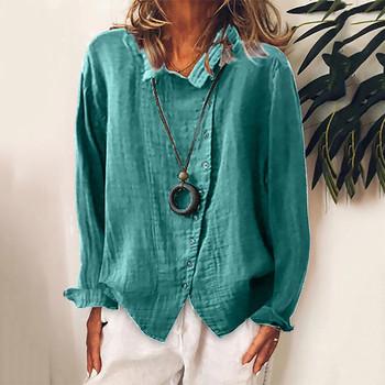 Bawełniana pościel Plus rozmiar bluzka moda damska guziki Casual jednokolorowa bluzka z długimi rękawami Blusas De Mujer luźna bluzka damska tanie i dobre opinie Skręcić w dół kołnierz Stałe Zima REGULAR Pełna CN (pochodzenie) Przycisk Osób w wieku 18-35 lat Buttons Long Sleeves T-Shirt Blouse Tops