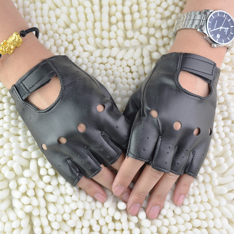 1 Pair Black PU Leather Fingerless Gloves Solid Female Half Finger Driving Women Fashion Punk Gloves