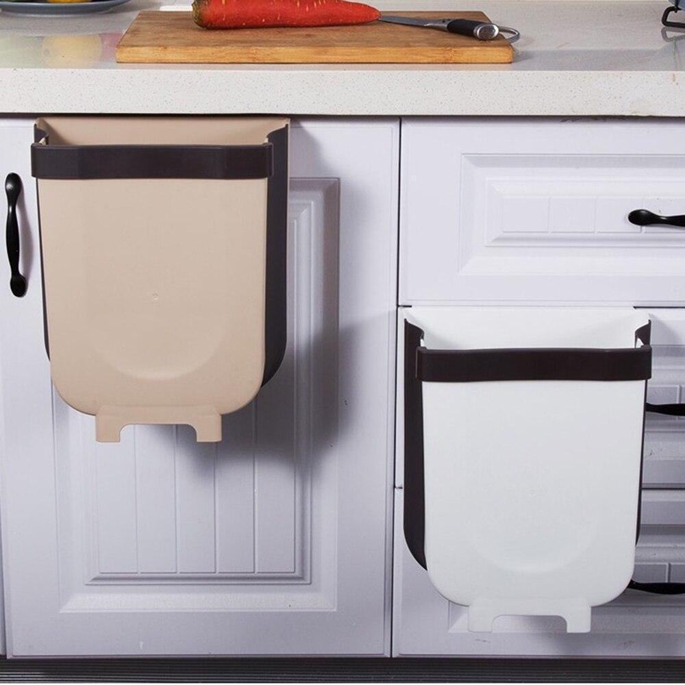 Cubo de basura plegable montado en la pared colgador para puerta de armario, Cubo de basura, Baño