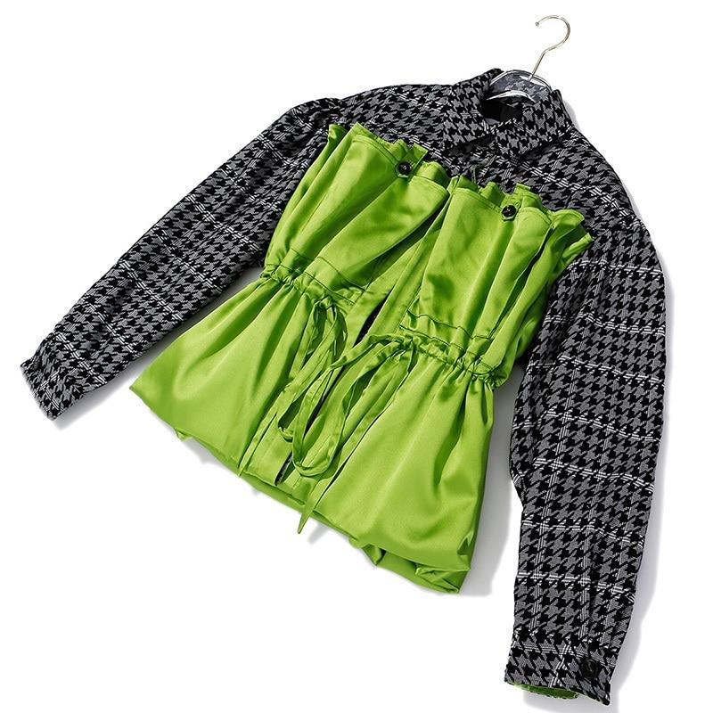 [EAM] Loose Fit Plaid Drawstring Split Big Size Jacket New Lapel Long Sleeve Women Coat Fashion Tide Spring Autumn 2020 1H203 2