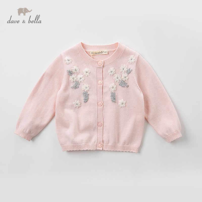 Dbm12829 데이브 벨라 봄 유아 아기 소녀 패션 꽃 아플리케 카디건 아이 유아 코트 어린이 귀여운 니트 스웨터