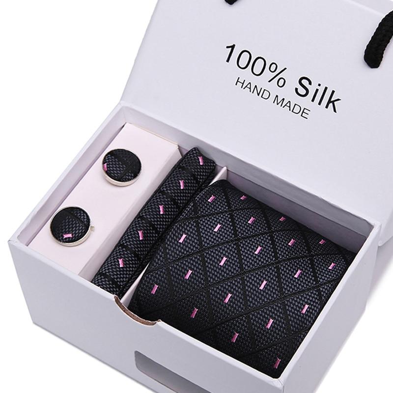 Men's Ties 7.5cm 100% Silk Stripe Floral Necktie Handkerchief Cuffink Tie Set Accessories Formal Wedding Party