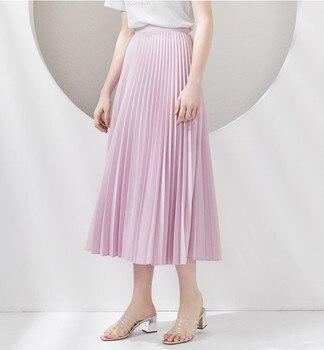 2020 Ladies Chiffon Pleated Skirt Elegant Solid Pink Fashion Women High Waist Party long Skirt High Quality box pleated chiffon skirt