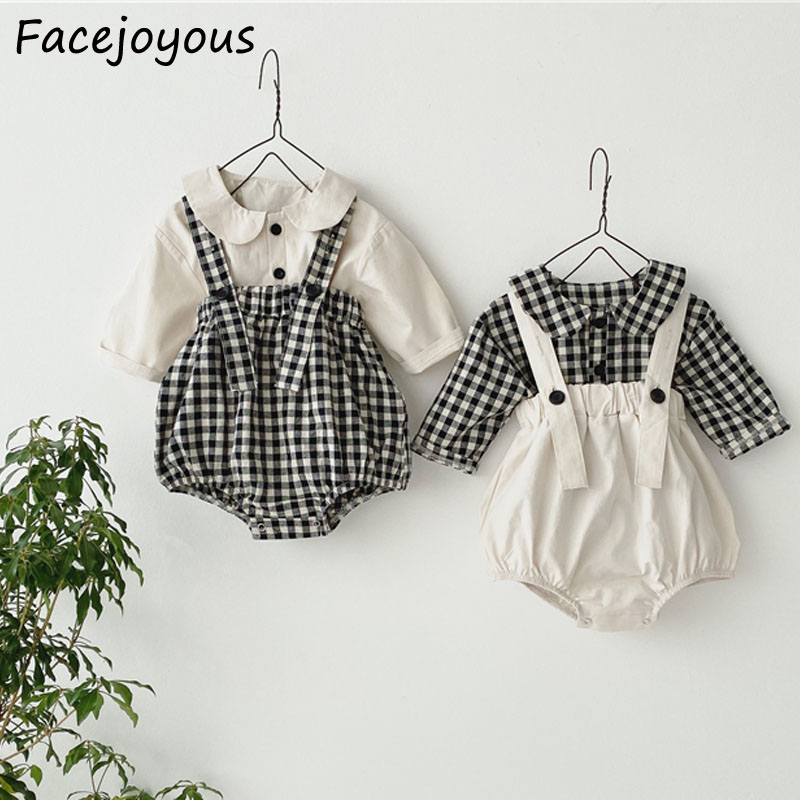 2Pcs/Set Spring New Born Baby Suit Ifant Kids Baby Girl Boy Clothes Long Sleeve Shirts + Strap Overalls Outfits Newborn Clothing