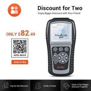 Image 5 - Autel MaxiLink ML619 сканер для диагностики авто автомобиля код ридер ABS SRS подушка безопасности OBD2 Автомобильный сканер Автоссылка AL619 бортовой компьютер