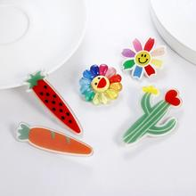 New Fashion Lovely Plant Acrylic Brooch And Pins For Women And Kids Cartoon Big Cactus Flower Brooch Lapel Pins Jewelry Gifts fishsheep large women figure acrylic brooches and pins fashion resin girl icon big brooch pins female fashion jewelry accessory