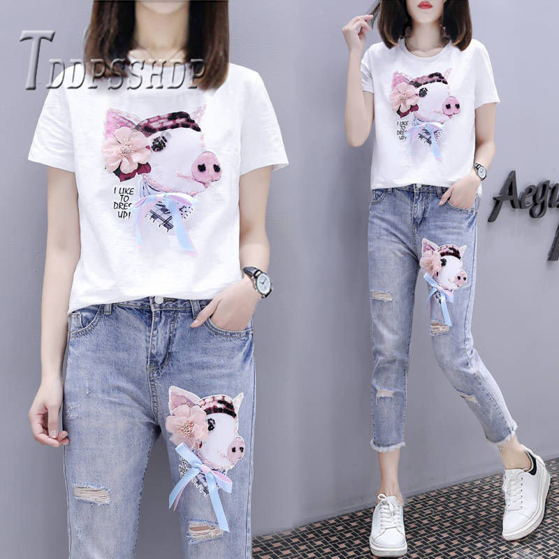2019 Cute Pig Print Women Sets Short Sleeve T Shirt And Jeans Female Sets