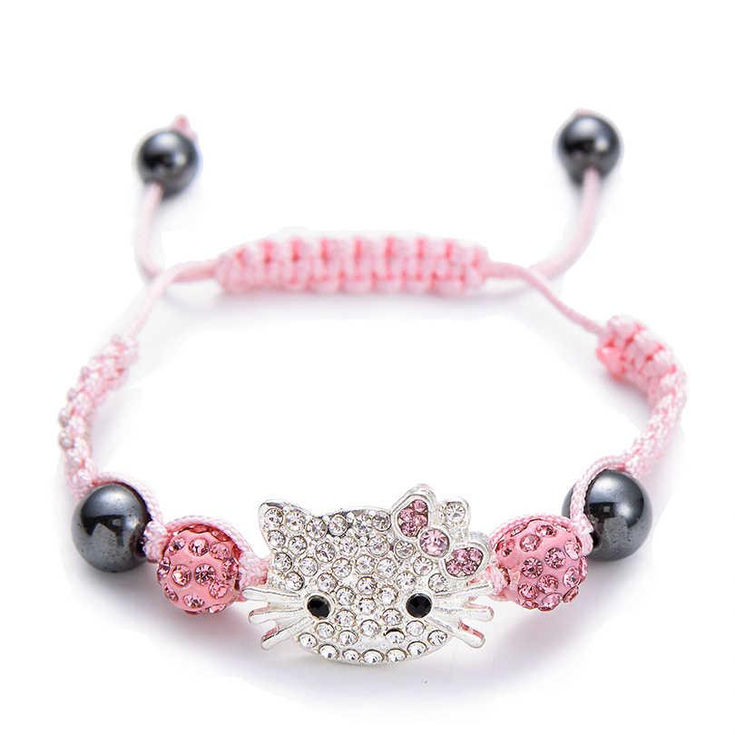 Милый детский браслет, стразы в виде кошки, круглые хрустальные бусины, многоцветные плетеные браслеты, сделай сам, детские ювелирные изделия