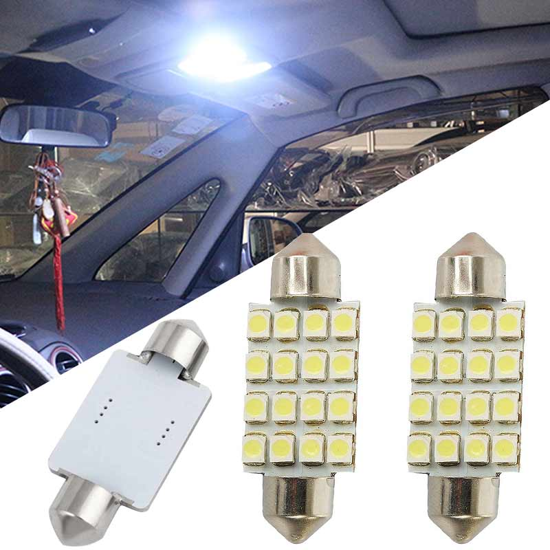 dropshipping 2pcs Car Auto Interior Festoon Dome 16 SMD LED Lights White Brake Signal Lamp 31/36/39/41mm   OE88