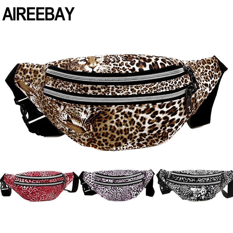 AIREEBAY New Fashion Women Fanny Pack Leopard Design Small Waist Bag 3 Zipper Pouch Chest Belts Bag Brand Outdoor Phone Purse