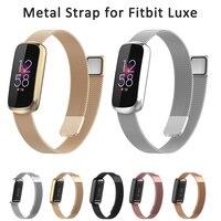 Pulseira de metal para o fitbit luxe, pulseira de substituição com laço ajustável de aço inoxidável