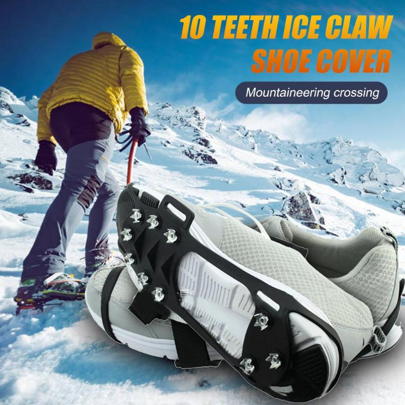 1 Pair 10 Teeth Crampon Snow Ice Surface Claws Grip Spike Winter Outdoor Non-slip Shoe Cover Ice Gripers For Camping And Hiking