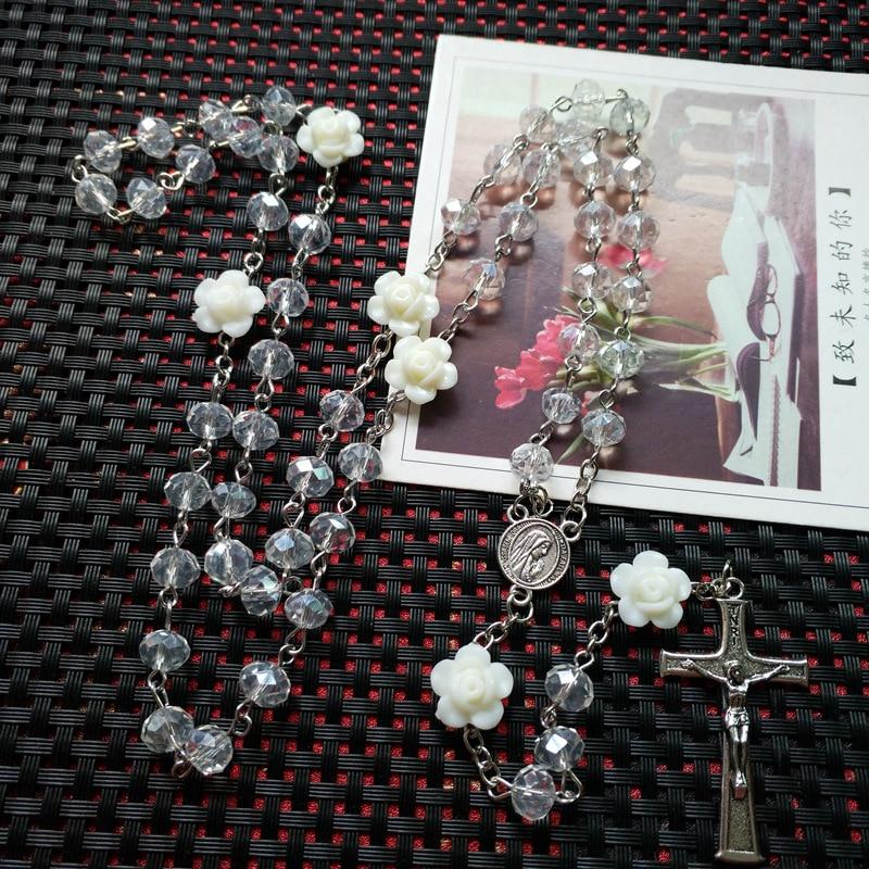 QIGO Rosa Rosa di Cristallo Della Collana Del Rosario Cattolico Trasversale Dell'annata Del Pendente Lunga Collana di Gioielli Religiosi 2
