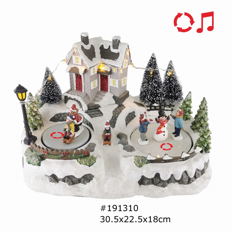 Wholesale Christmas Village House Scene 2 Rolling Figurines With Led Light And Music Battery Operated And USB