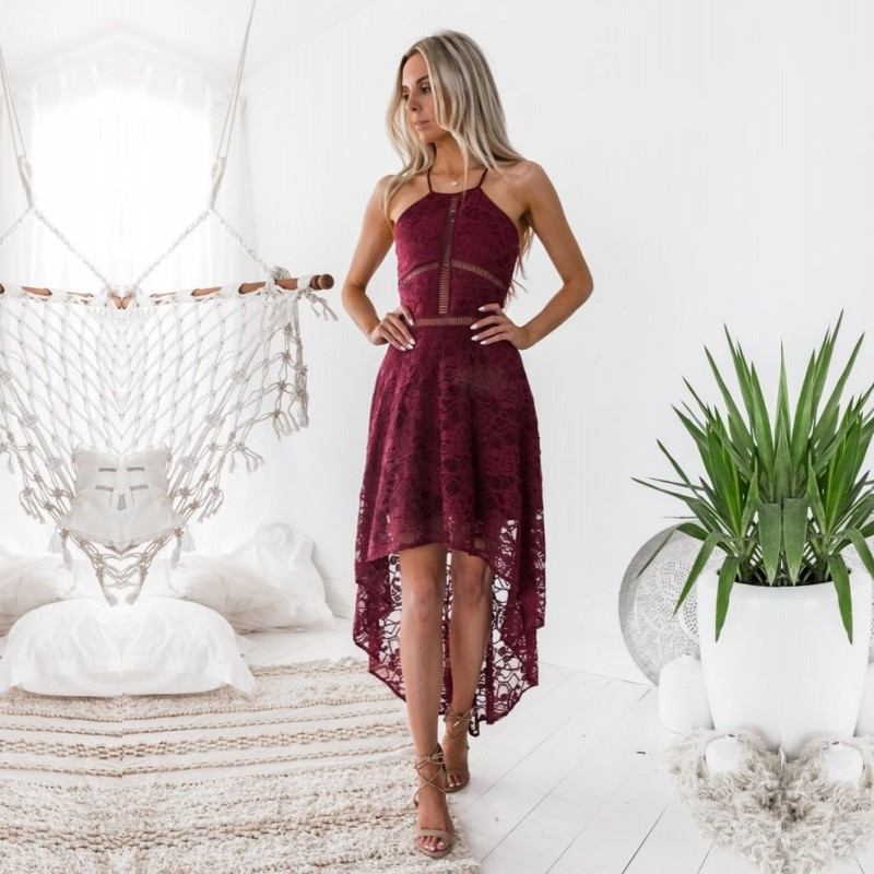 High Low Burgundy Lace Sexy Homecoming Dresses Short Front Long Back White Black Graduation Dress In Stock Formal Wear