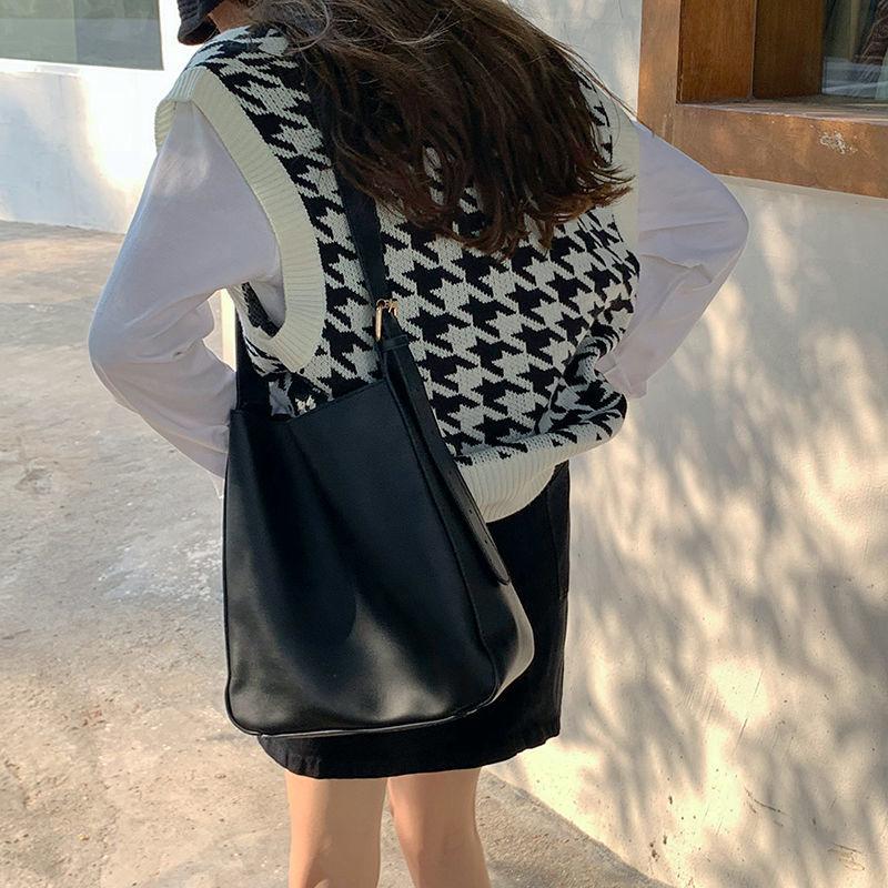 H963713bb028b442387f4f3248175f4cbf Women Sweater Vest Autumn Houndstooth Plaid V-neck Sleeveless Knitted Vintage Loose Oversized Female Sweater Vest Tops