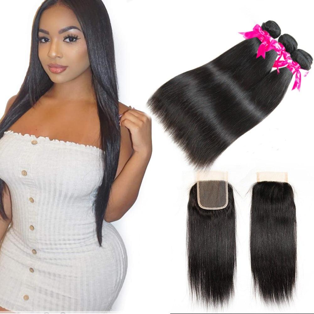 O cabelo brasileiro tece pacotes com fechamento em linha reta pacotes com 4x4 fechamento do laço preplucked com o cabelo do bebê para o cabelo feminino beau