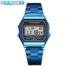 SYNOKE Business Watch Digital Men Stopwatch Timing 50m Swimming Waterproof Metal Strap Gold Plating Process reloj hombre lige